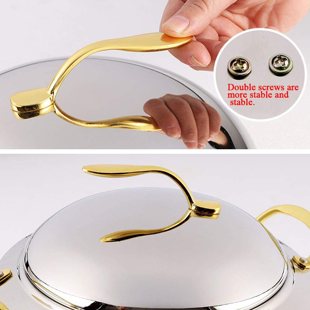 11-Inch Stainless Steel Chafer Round Chafing Dish 3-Quart Thicken Durable Frame with Lid and Alcohol Furnace Holder for Catering Buffet Warmer Tray Kitchen Party Dining Gold