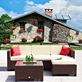 Cloud Mountain 5 PC Patio Rattan Wicker Furniture Set Outdoor Backyard Sectional Conversation Furniture Set Outdoor Patio Garden Sofa Set, Brown Rattan with Beige Cushions Review