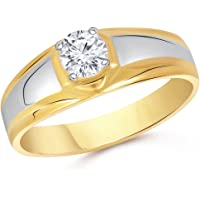 VK Jewels Solitaire Gold and Rhodium Plated Alloy Ring for Men Made with Cubic Zirconia - FR1899G [VKFR1899G]