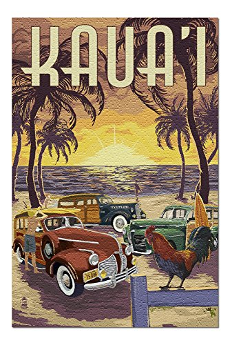 Kauai - Woodies on the Beach with Rooster (20x30 Premium 1000 Piece Jigsaw Puzzle, Made in USA!)