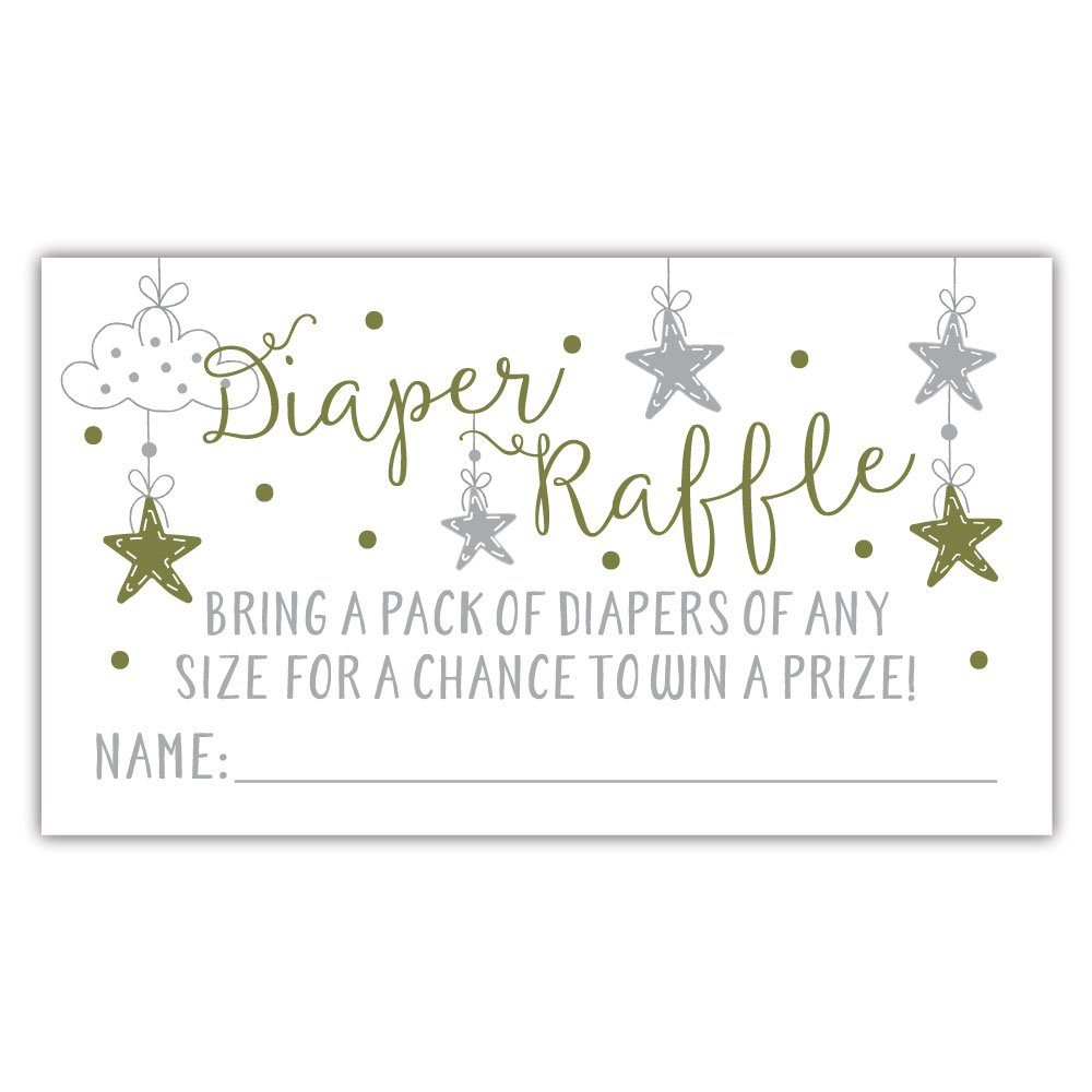 50 Twinkle Twinkle Little Star Diaper Raffle Tickets | Gender Neutral Baby Shower Game by m&h invites (Image #3)