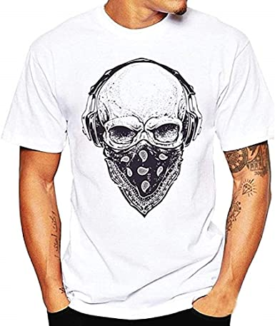 Camiseta Hombre Calavera - Counter Strike - Bandana - Manga Corta - Rock - Metal - Punk - Moteros - Idea de Regalo Original - Color Blanco