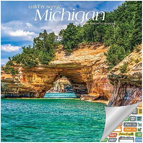 Michigan Wild & Scenic Calendar 2019 Set - Deluxe 2019 Michigan Wall Calendar with Over 100 Calendar Stickers (Michigan Gifts, Office Supplies)