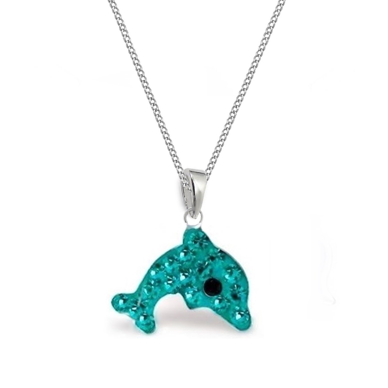 GH* T/ürkis Kristall Delfin ANH/ÄNGER KETTE 925 Sterling Silber Kinder M/ädchen Halskette Delphin