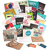 Happy Birthday Cards Bulk Set with 40 Unique Birthday Cards and Envelopes in a Cute Holder Box. Generous Size and Sturdy Quality. Extra: 10 small notes and envelopes for giving gift cards