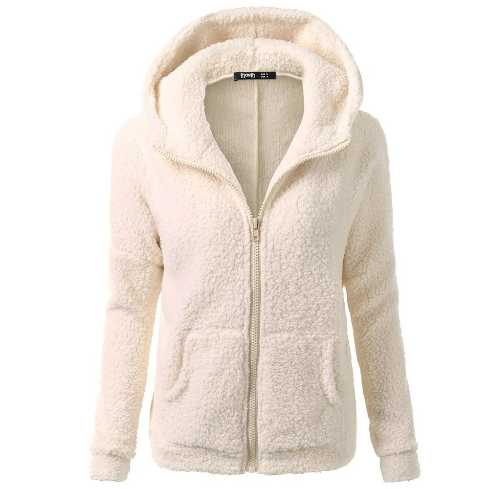 Byyong Womens Casual Lapel Hooded Pocket Sweatershirt Winter Warm Wool Zipper Coat Cotton Coat Outwear