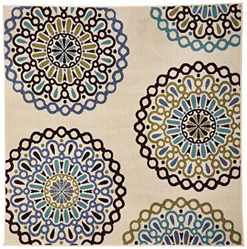 Safavieh Veranda Collection VER092-0615 Indoor/ Outdoor Cream and Blue Square Contemporary Area Rug (6'7