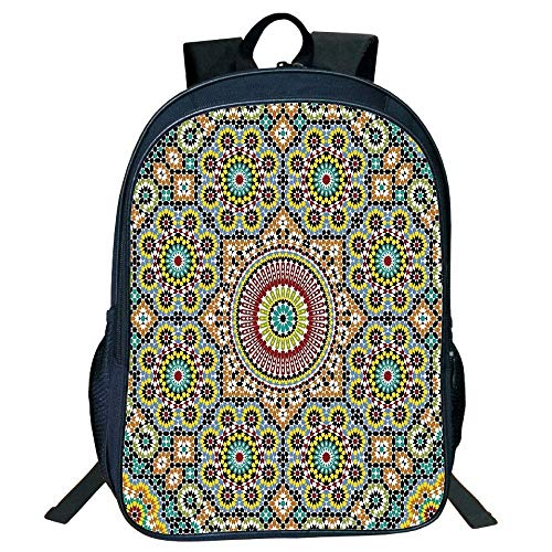 (DKFDS Backpacks Unisex School Students Moroccan Decor,Aged Old Arabic Design Arabian Cultural Engraving Art History Tourist Attraction)