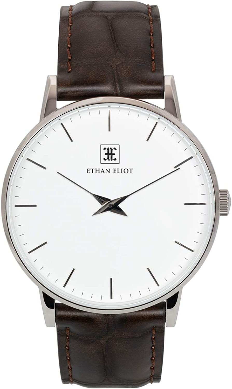 Ethan Eliot Classic Men s Watch, Oxford 40mm Silver Watch for Men, Stainless Steel Silver Case, White Dial Genuine Dark Brown Croc-Embossed Leather Strap, Water Resistant Watch EE40-SW34CDB