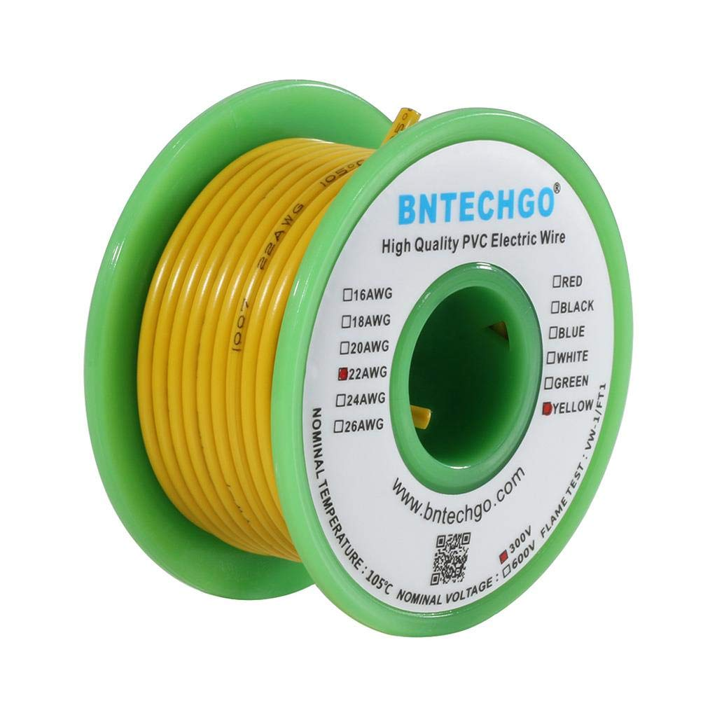 BNTECHGO 22 AWG 1007 Electric Wire 22 Gauge PVC 1007 Wire Solid Wire Hook Up Wire 300V Solid Tinned Copper Wire Yellow 25 ft Per Reel for DIY bntechgo.com