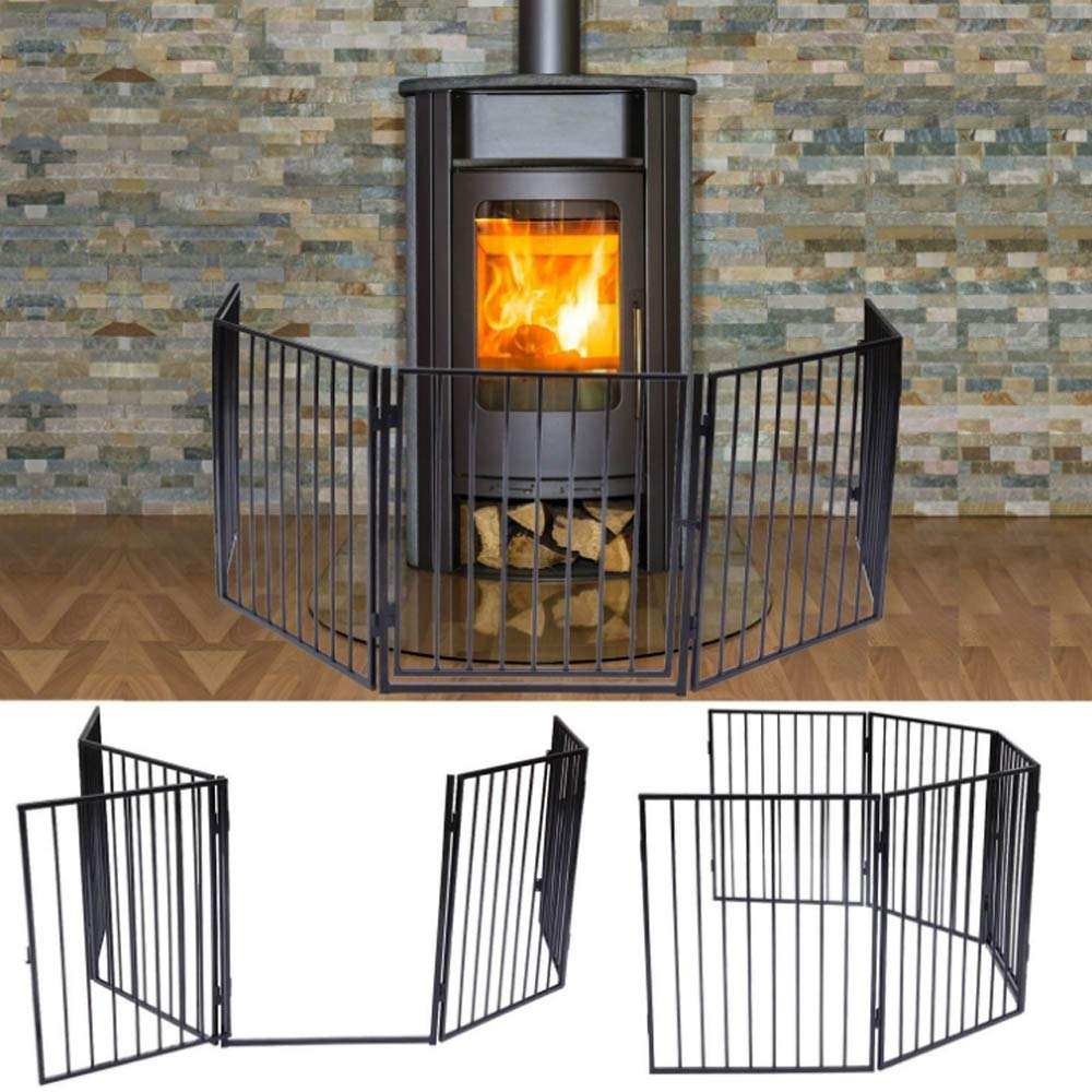 Apelila Fireplace Fence Baby Safety Walk-Through Door, Metal Fire Gate/Wide Barrier Gate Pets Dog Cat Christmas Tree Fence (01)