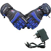 PROKTH Gants Chauffants avec Batterie pour Hommes et Femmes Gant Chauffant d'hiver pour Moto, Ski, Alpinisme, vélo, VTT, Camping, pêche Bleu 1set