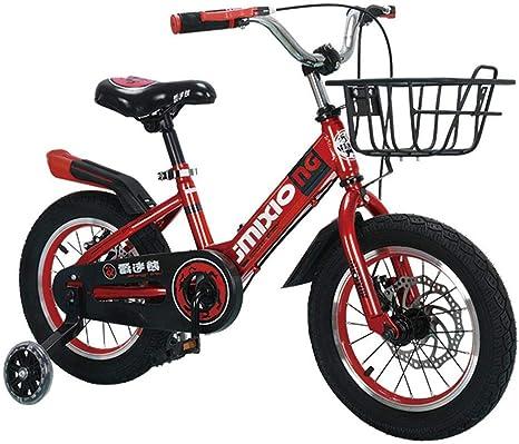XiangYu Bicicleta para Ni?os,Sistema de Freno de Disco Doble,Sillín Ajustable Manillar + Riel Auxiliar Antideslizante + Hervidor + Asiento Trasero + Cesta + Regalos Red-18inch: Amazon.es: Deportes y aire libre