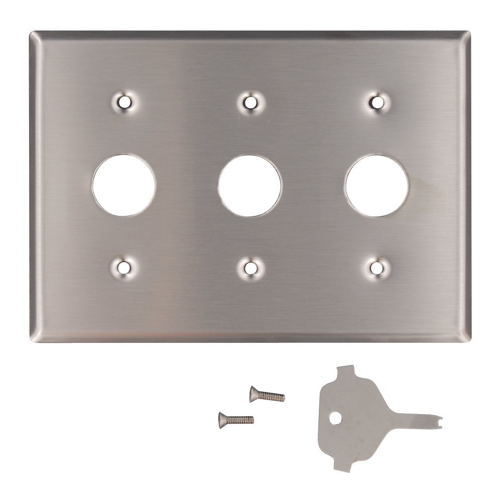 Leviton 84073-40 3-Gang Key Lock Power Switch Wallplate, Device Mount, Spanner Screws and Tool, Stainless Steel