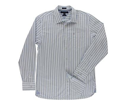 b0054320 Tommy Hilfiger Men's Collar Striped Button Down White/Blue at Amazon ...