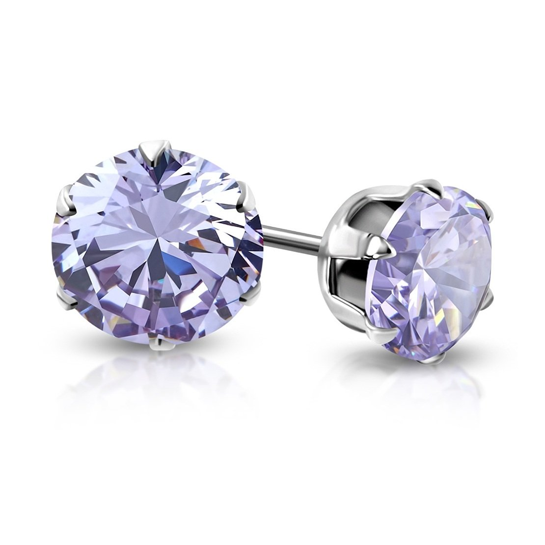 pair Stainless Steel Prong-Set Round Circle Stud Earrings with Light Purple// Violet CZ