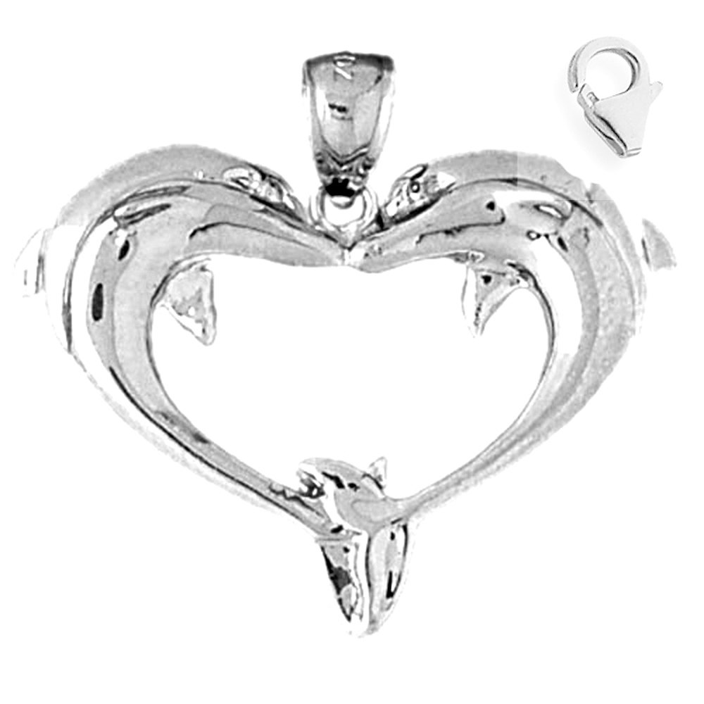 Sterling Silver 29mm Dolphin Heart with 7.5 Charm Bracelet Jewels Obsession Dolphin Heart Pendant