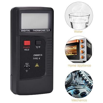 Termómetro,Termómetro digital LCD -200 ℃ ~ 1370 ℃ con Sonda de Sensor de