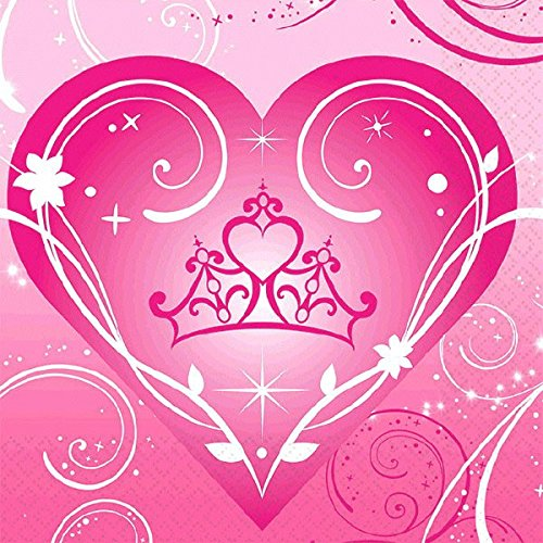 Amscan Disney Princess Sparkle Beverage Napkins Birthday Party Disposable Tableware (16 Pack), Pink, 6