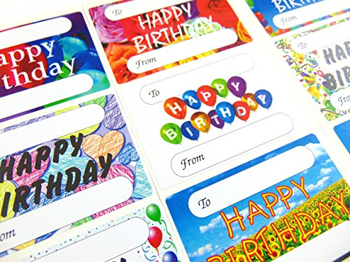 Minilabel Happy Birthday Gift And Present Tags, Self-Adhesive Labels, 9 Designs