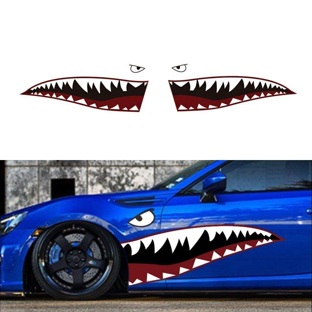 """iJDMTOY Complete Set 60"""" Full Size Shark Mouth w/Eye Die-Cut Vinyl Decals for Car (Left & Right)"""