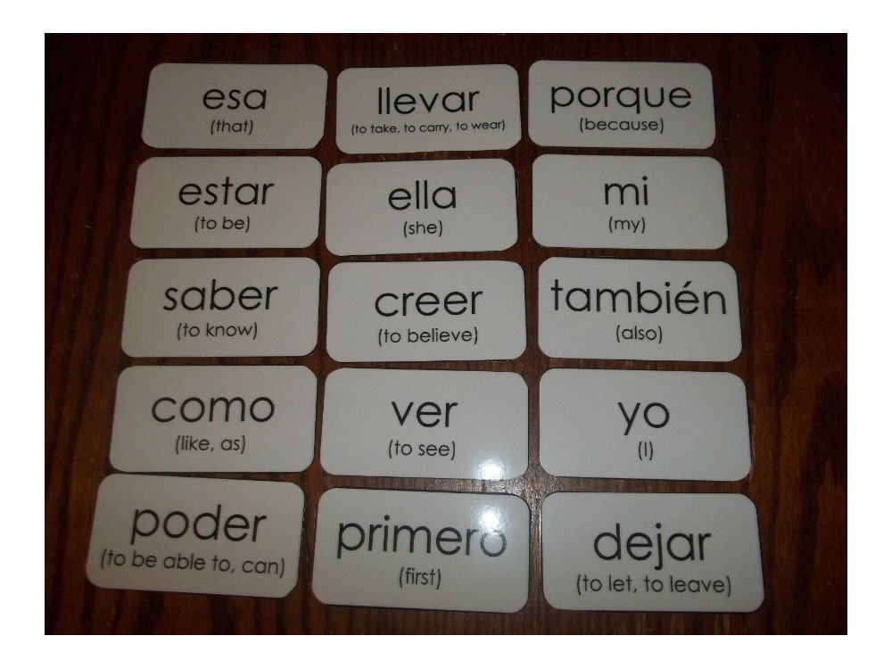 Amazon.com: 102 Spanish laminated high frequency sight word flash cards. Learn Spanish Best SelleR!: Toys & Games