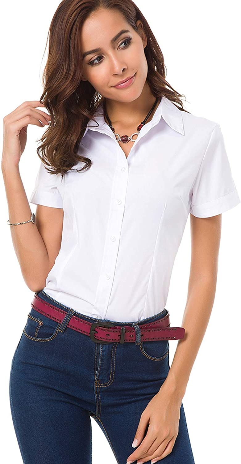 Atnlewhi White Button Down Shirt Womens Short Sleeve Blouse for Work Business Collared Work Button Up Shirts