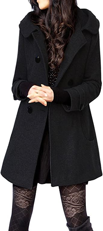 Chic Women Wool Blend Outwear Double Breasted Mid Long Hooded Jacket Coat Trench