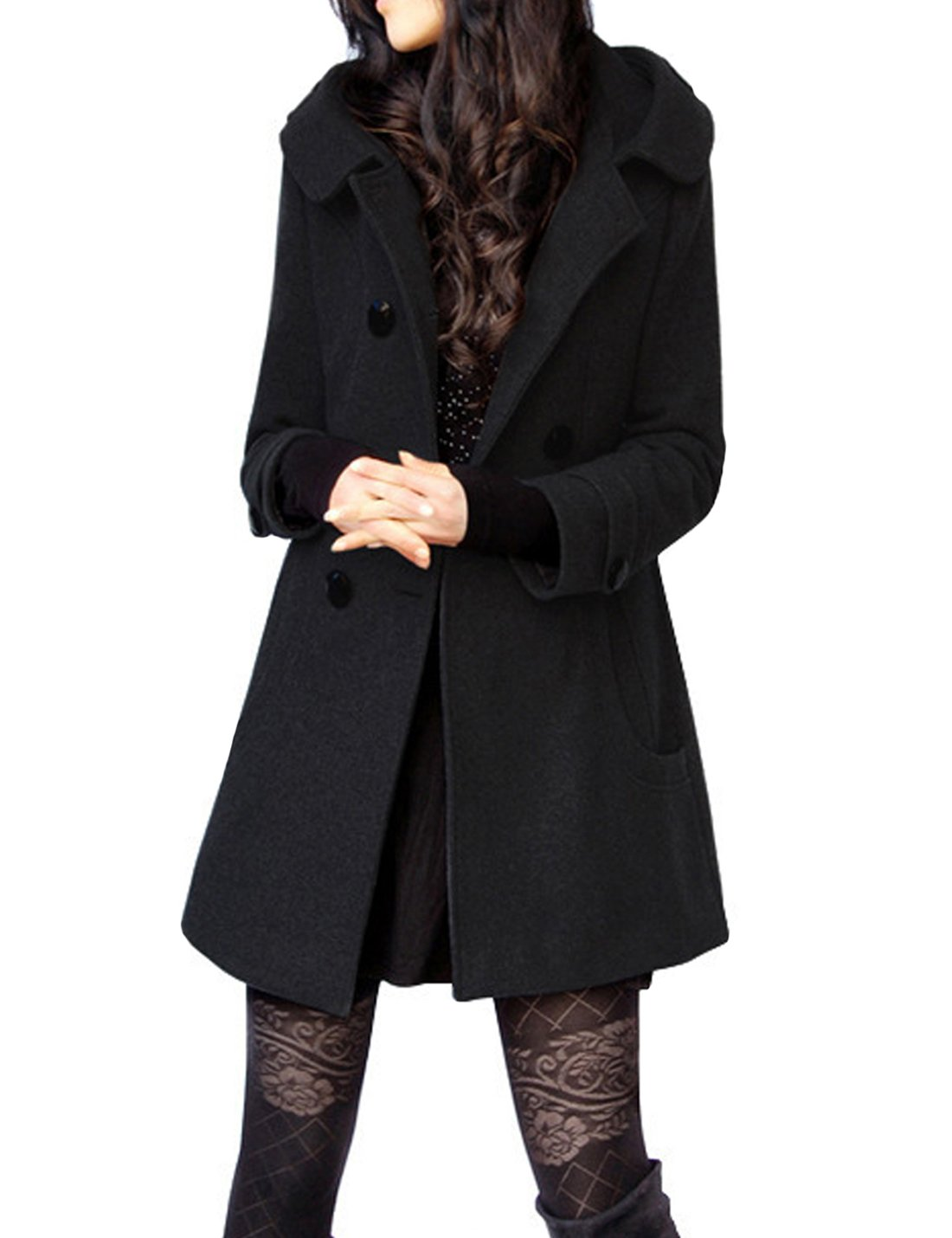 Tanming Women's Winter Double Breasted Wool Blend Long Pea Coat with Hood (Large, Black Cotton)