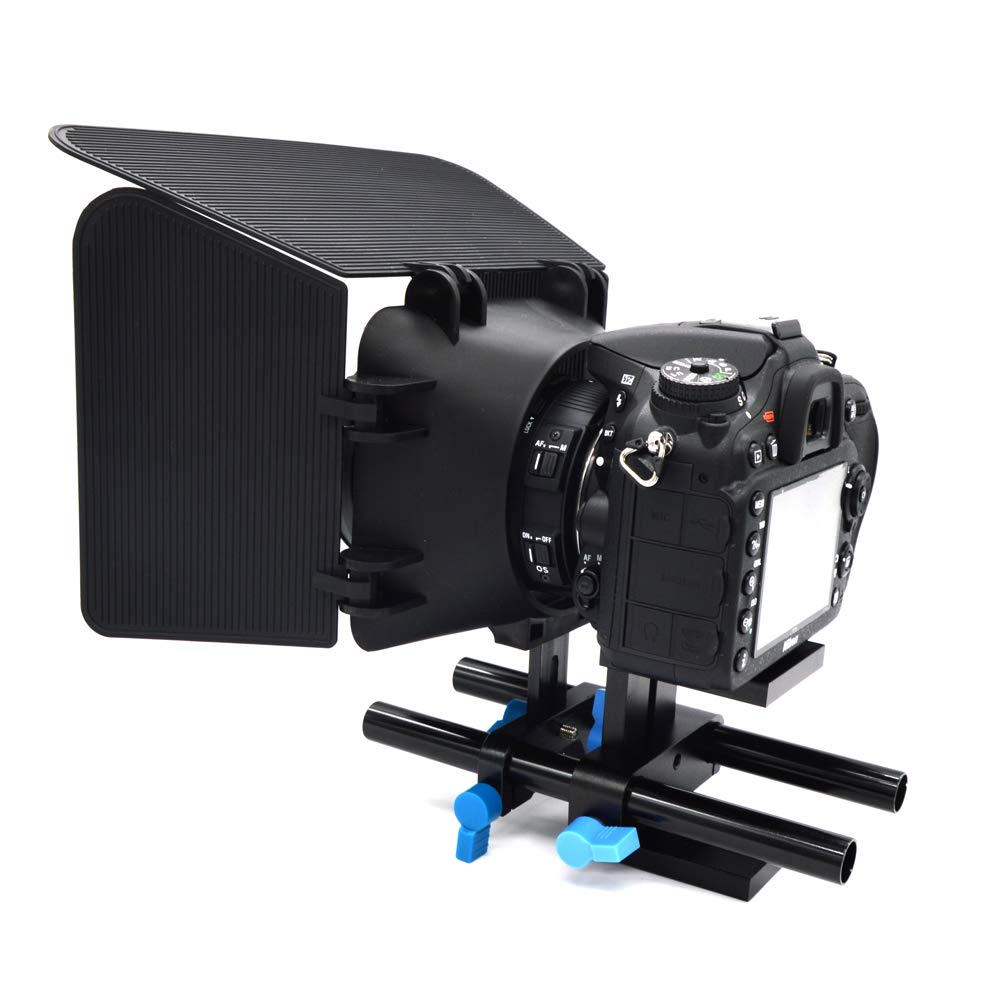 RONSHIN Camera Accessory-Universal Aluminum 15mm Rail Rod Support System High Riser DSLR Camera Mount with 1/4'' Screw Quick Shoe Plate for Follow Focus Matte Box by RONSHIN