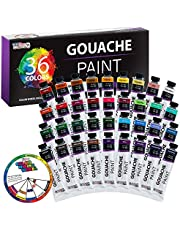 U.S. Art Supply Professional 36 Color Set of Gouache Paint in Large 18ml Tubes - Color Mixing Wheel