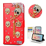 STENES LG G5 Case - Stylish - 3D Handmade Bling Crystal Crown Skull Tassel Pendant Design Wallet Credit Card Slots Fold Stand Leather Cover for LG G5 - Red
