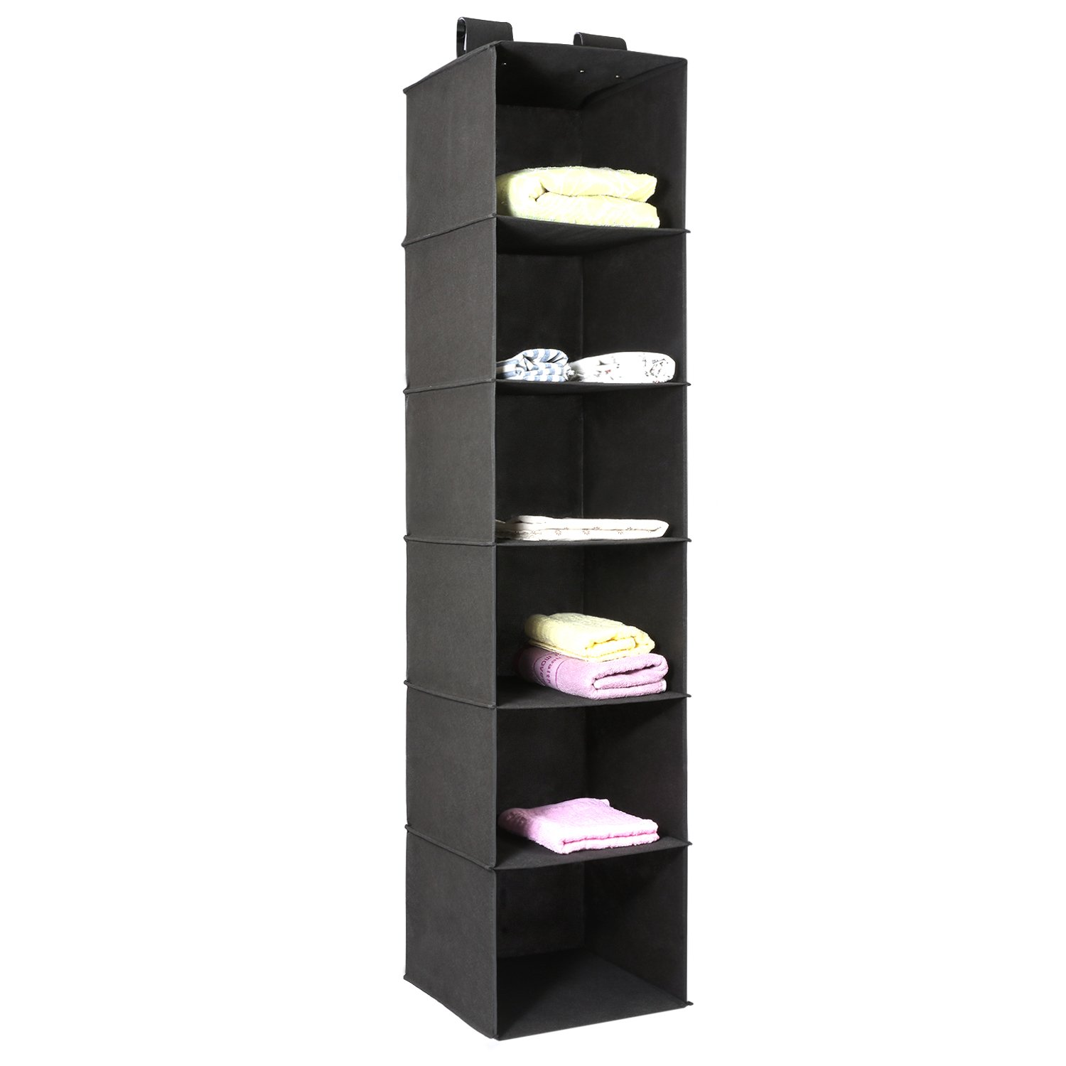 Magicfly Hanging Closet Organizer, 6-Shelf Hanging Clothes Storage Box Collapsible Accessory Shelves Hanging Closet Cubby for Sweater & Handbag Organizer, Easy Mount, Black