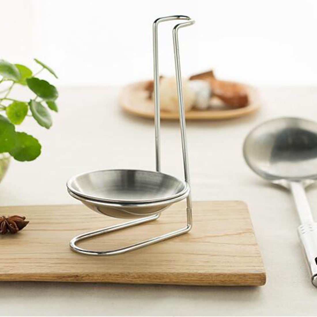 Ladle Rest Soup Ladle Holder Silver Onmexto COMINHKPR129467 Stainless Steel Spoon Rest Holder,Long Handle Vertical SPAC Saving Soup Ladles Holders Single