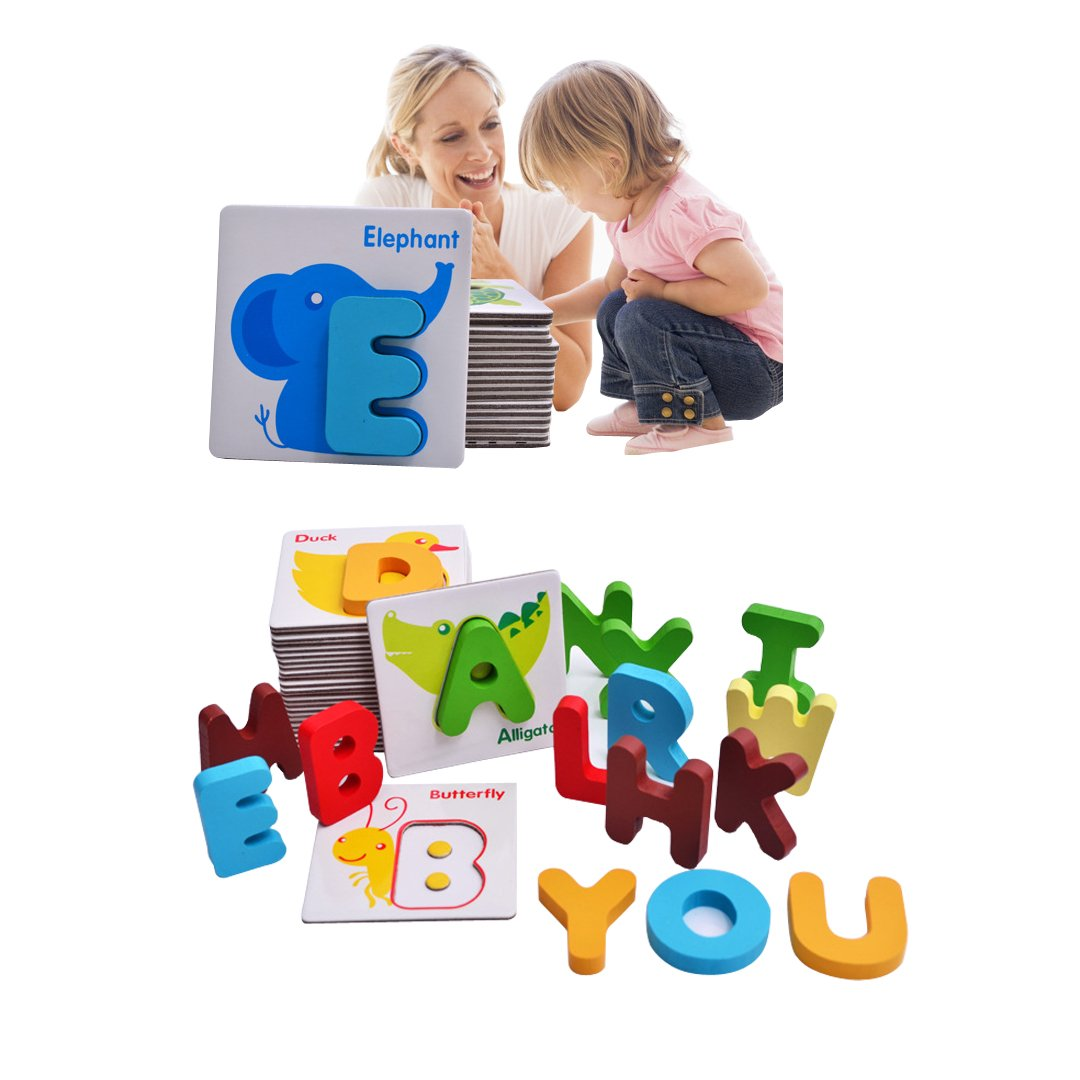 Naovio Kids Wooden Puzzles Toys Animal Alphabet Puzzles Blocks Toy with Color Letters, Alphabet A-Z Set