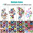Heansun 80 PCS Wall Decal Butterfly, Wall Sticker Decals for Room Home Nursery Decor