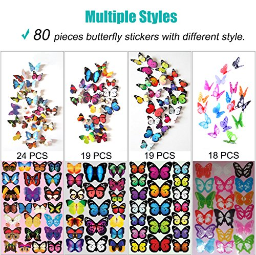 Heansun Wall Decal Butterfly, 80 PCS Wall Sticker Decals for Room Home Nursery Decor