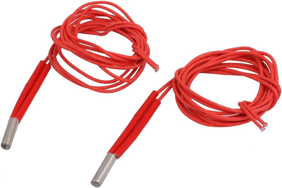 uxcell 2Pcs 12V/24V 30W/40W 6mm x 20mm Single Head Heating Element Cartridge Heater