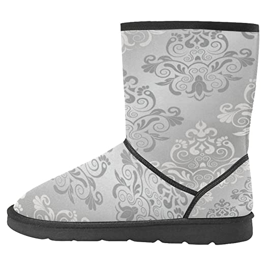 Women's Snow Boots Unique Designed Comfort Winter Boots Damask Carved Patterns Grey