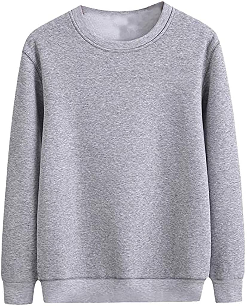 Mens Crewneck Fleece Sweatshirt Pullover Solid Sweater Long Sleeve Knitted Pullover Basic Slim Fit Casual T Shirts
