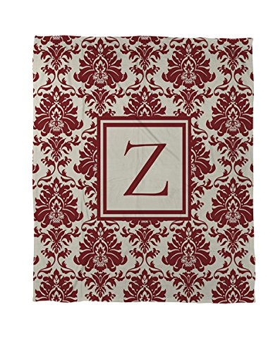 Manual Woodworkers & Weavers Coral Fleece Throw, 50 by 60-Inch, Monogrammed Letter Z, Crimson Damask