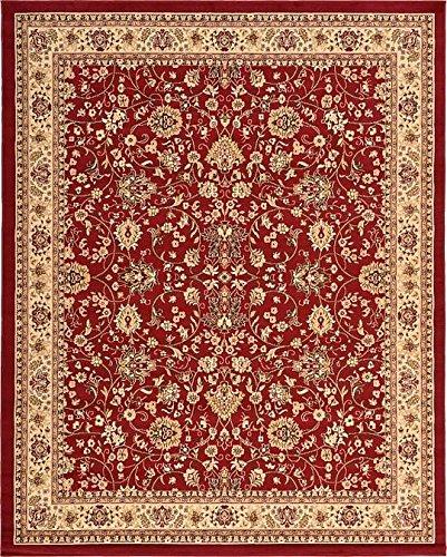 Unique Loom Kashan Collection Burgundy 8 x 10 Area Rug (8' x (Burgundy Kashan Rug)