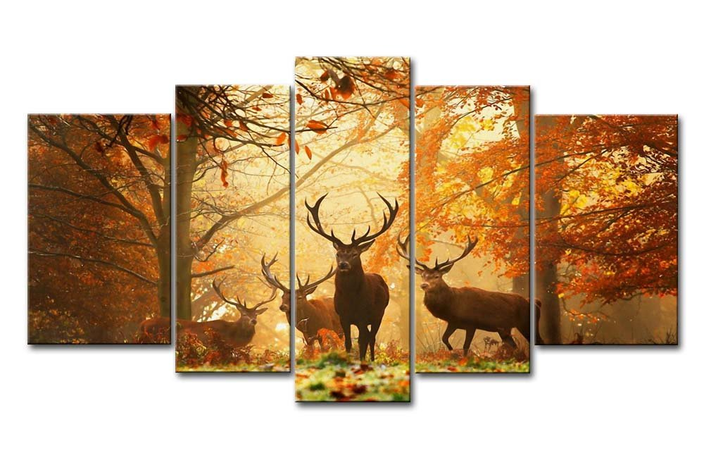 Amazon.com: Brown 5 Panel Wall Art Painting Deer In Autumn Forest ...