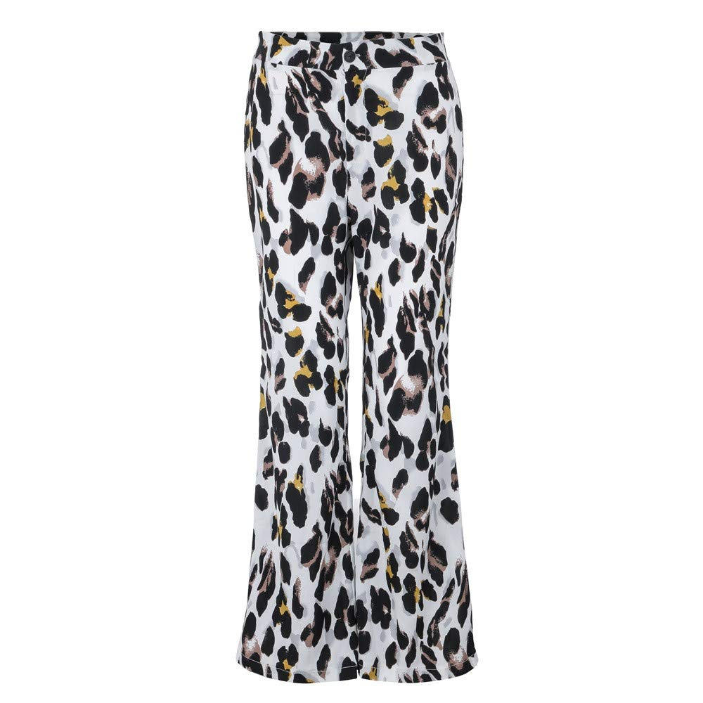 iLUGU Women Fashion Sexy boys jeans Leopard Print Long Pants Elastic Waist Wide Leg Pants