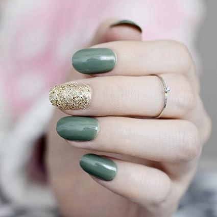 EchiQ - Clavos de acrílico con purpurina dorada, color verde y gris, para uñas