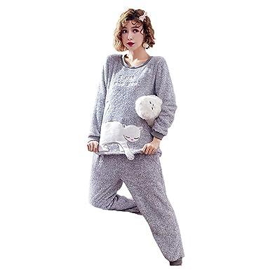 JEELINBORE Conjunto de Pijama para Mujer Franela Suave Estampado Camisetas Top de Manga Larga y Pantalones