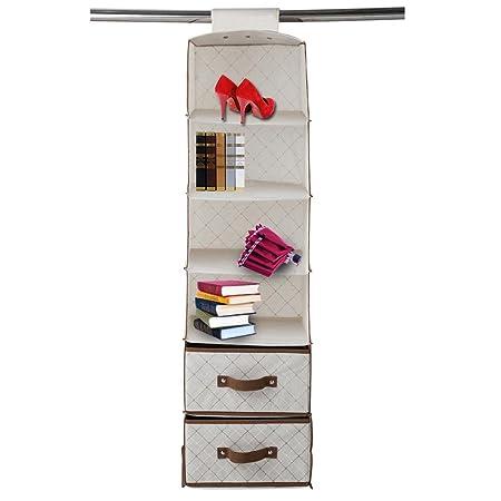 6-Shelf hanging closet organizer Wardrobe Storage Unit Sweater Organiser with 2 drawers for Storing  sc 1 st  Amazon UK & 6-Shelf hanging closet organizer Wardrobe Storage Unit Sweater ...