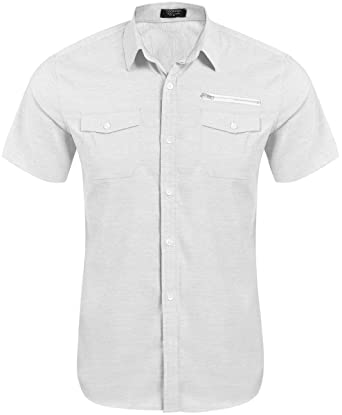 61069ea9ec COOFANDY Men s Casual Short-Sleeve Pocket Button Down Oxford Dress Shirt  (M