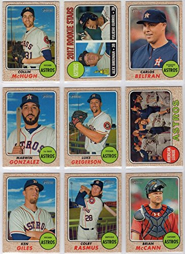 Houston Astros 2017 Topps Heritage Series Complete Mint Hand Collated Basic 14 Card Team Set with Jose Altuve, Carlos Correa, Alex Bregman Rookie Card plus