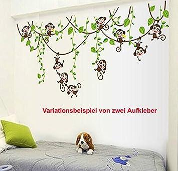 Wandaufkleber Wandtattoo Wandsticker Deko Monkey Affe Schaukel Baby ...